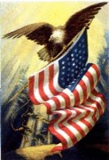Eagle holding the American flag
