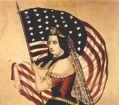Antique sketch of patriotic woman holding the American Flag